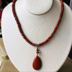 Jewelry - Genuine Red Jasper Stone Toggle Necklace